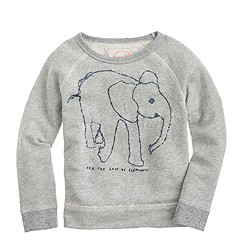 Girls' crewcuts for David Sheldrick Wildlife Trust elephant sweatshirt