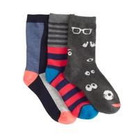 Boys' glow-in-the-dark googly eye socks three-pack