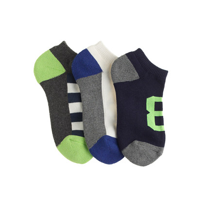 Boys' racer-stripe ankle socks three-pack