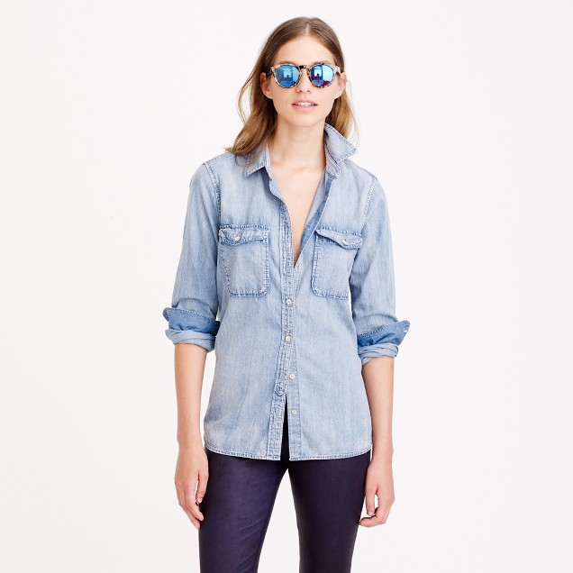Chambray shirt j crew for Chambray shirt women