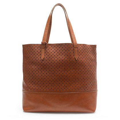 Downing tote in perforated leather