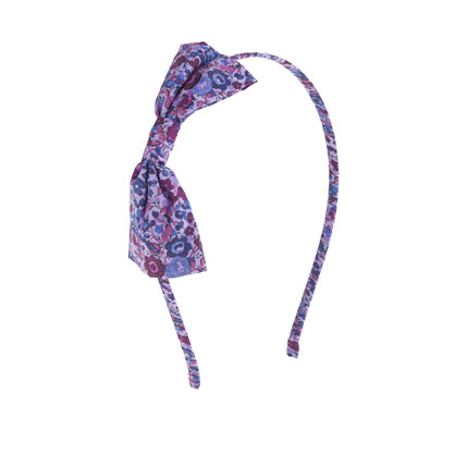 Girls' bow headband in Liberty poppy tot