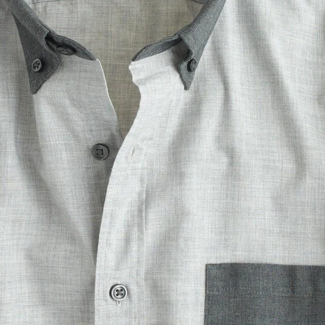 Slim Secret Wash shirt in heather smoky coal