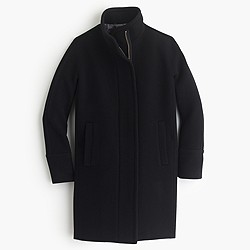 Tall stadium-cloth cocoon coat
