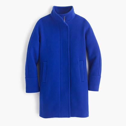 Tall stadium-cloth cocoon coat