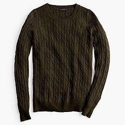 Petite Cambridge cable crewneck sweater