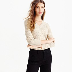 Petite Cambridge cable V-neck sweater