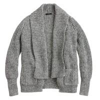 Marled rib-stitch open cardigan sweater