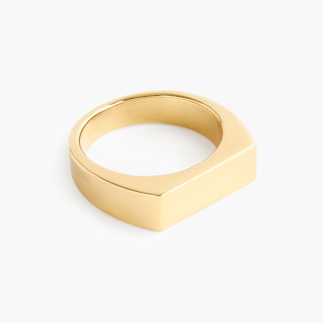 14k gold rectangle signet ring