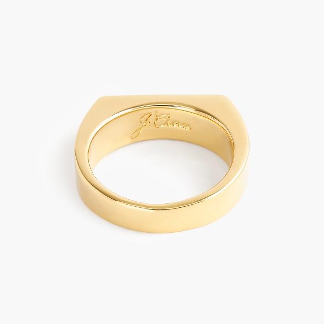 14k gold rectangle signet ring