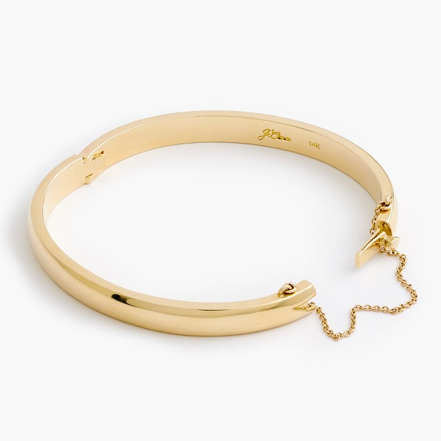14k gold half-round hinged bangle