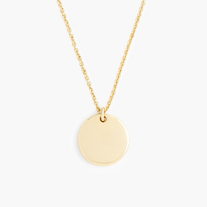 "14k gold circle charm necklace with 16"" chain"