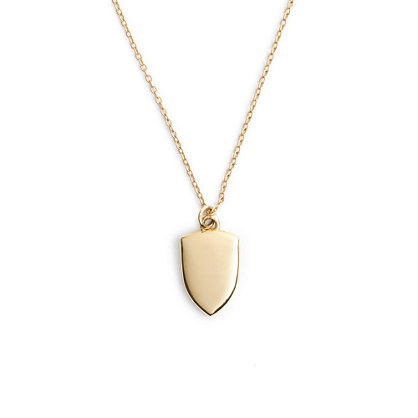 "14k gold shield charm necklace with 16"" chain"