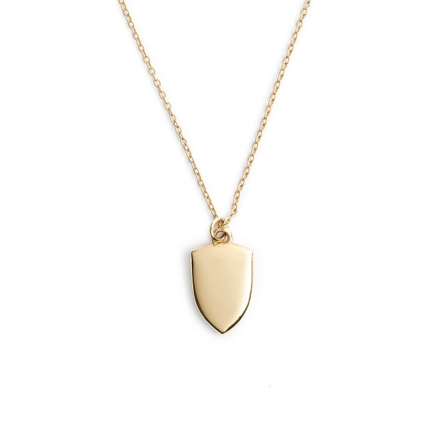 """14k gold shield charm necklace with 16"""" chain"""