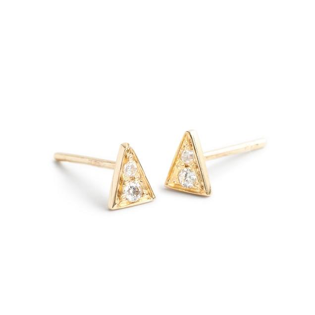 Mociun™ 14k triangle diamond stud earrings