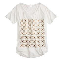 Metallic grid drapey T-shirt
