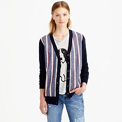 Woven-front cardigan sweater
