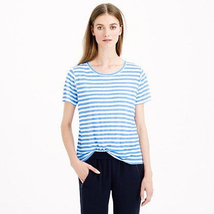 Linen swingy stripe T-shirt