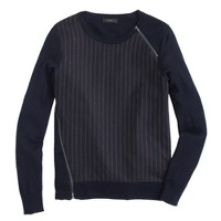 Pinstripe zip sweater