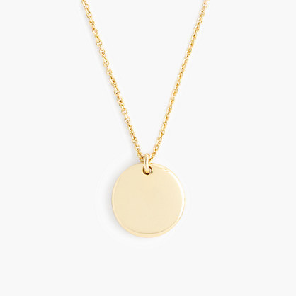 "14k gold circle charm necklace with 18 1/2"" chain"
