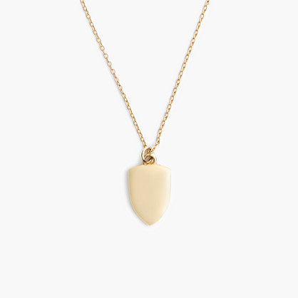 "14k gold shield charm necklace with 18 1/2"" chain"