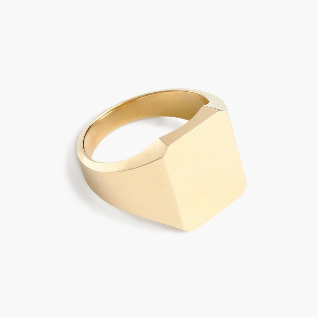 14k gold square signet ring