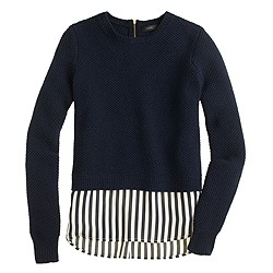 Lambswool shirttail sweater in stripe