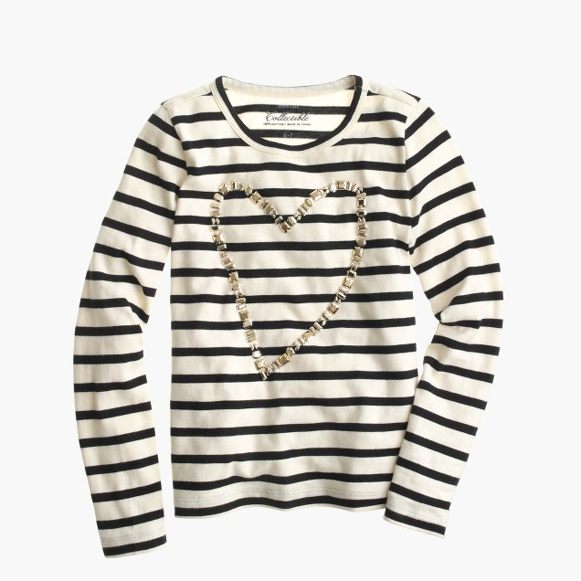 Girls' heart gem T-shirt in stripe