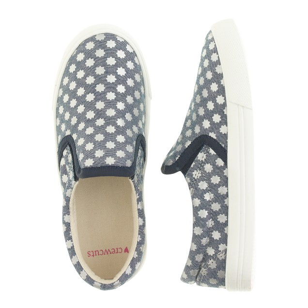 Girls' chambray slip-on sneakers