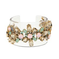 Lucite stacked stone cuff