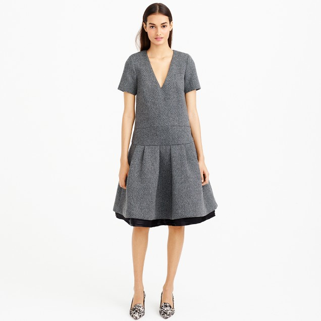 Collection bonded donegal wool dress