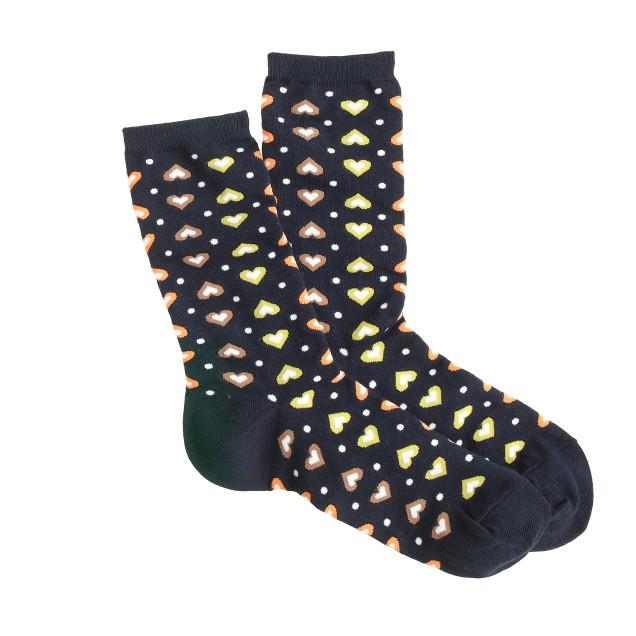 Heart print trouser socks