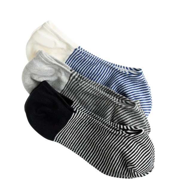 Stripe no-show socks three-pack