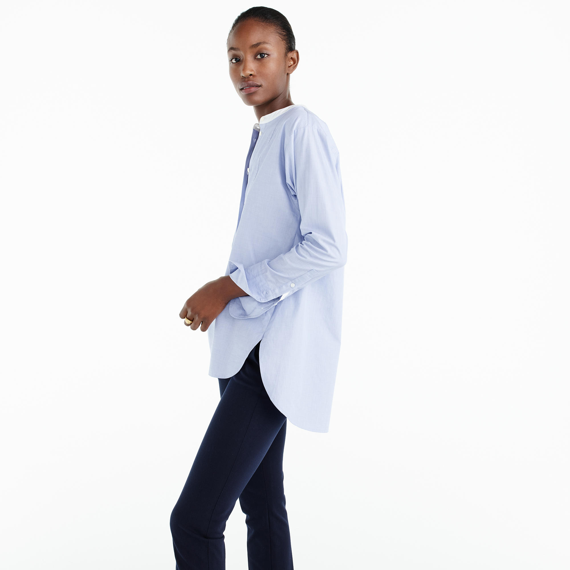 Thomas Mason For J.Crew Collarless Shirt : Women's Shirts | J.Crew