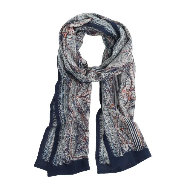 Wool-silk scarf in woodblock print
