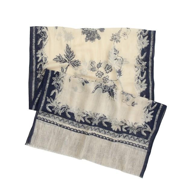 Wool-silk printed scarf