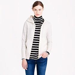 Boiled wool zip-front hoodie