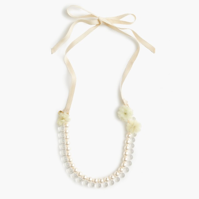 Girls' pearl petal necklace