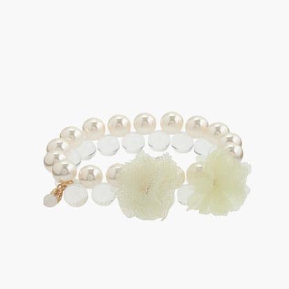 Girls' pearl petal bracelet