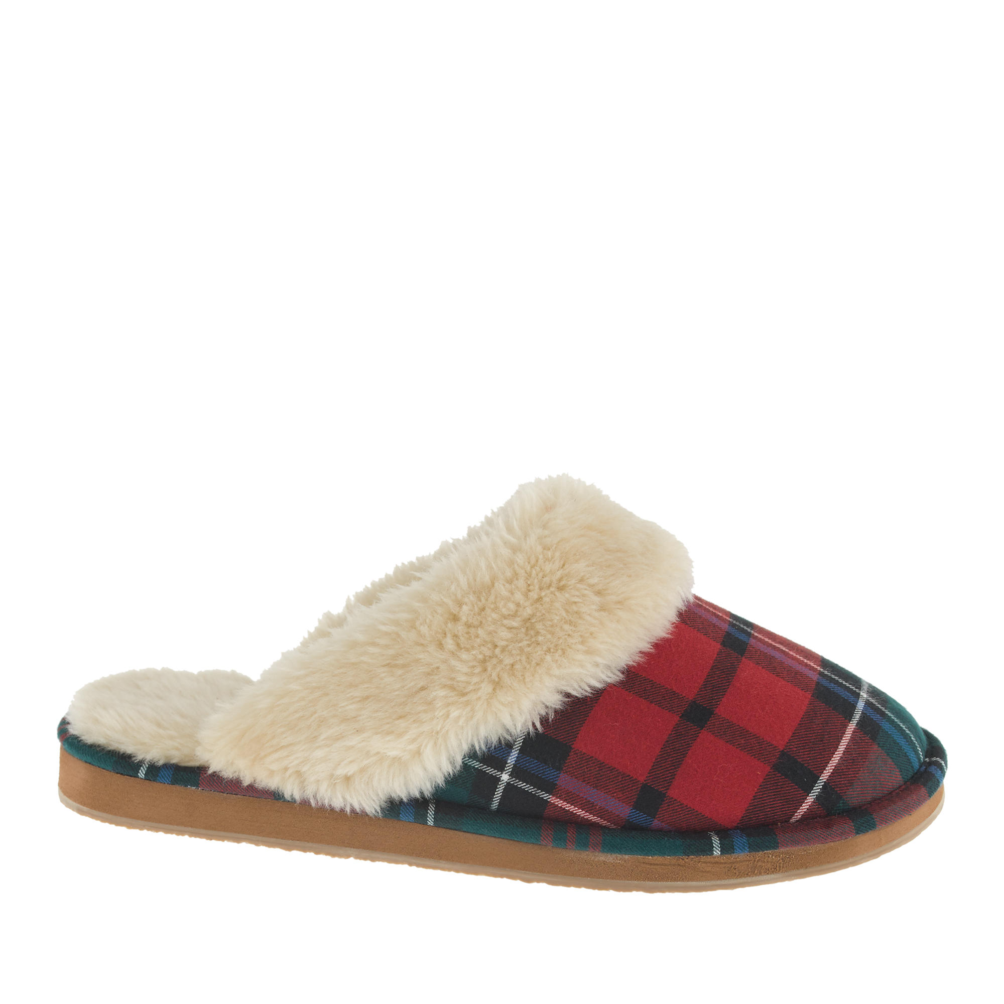 Women 39 s plaid shearling scuffs j crew for J crew bedroom slippers
