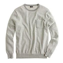 Italian cashmere pocket sweater in microstripe