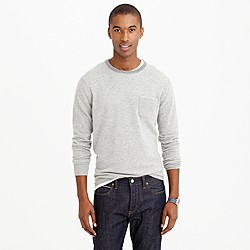 Italian cashmere pocket sweater in microstripe