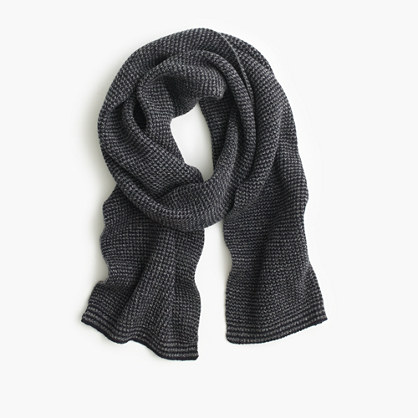 Lambswool marled striped scarf