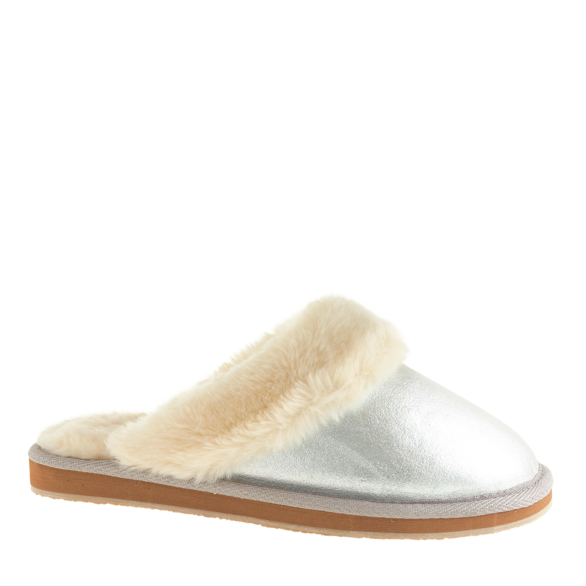 Women 39 s metallic shearling scuffs j crew for J crew bedroom slippers