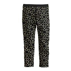 Girls' everyday leggings in geo glitter print