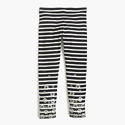 Girls' everyday leggings in glitter flower stripe