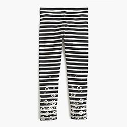 Girls' everyday leggings in glitter flower stripe