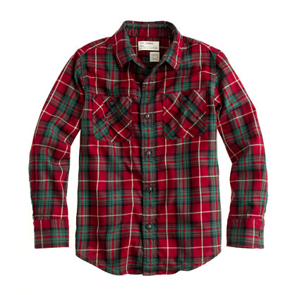 Cinch Red & Black Plaid Shirt for boys has top quality and authentic Western style for the kid that rides and competes. Long sleeve snap shirt in a striking red, white, and black plaid has marble-look white and clear snaps, single yokes, and snap flap spade pockets.