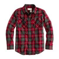 Boys' flannel shirt in deep red plaid