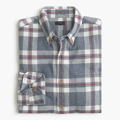 Slim brushed twill shirt in explorer blue